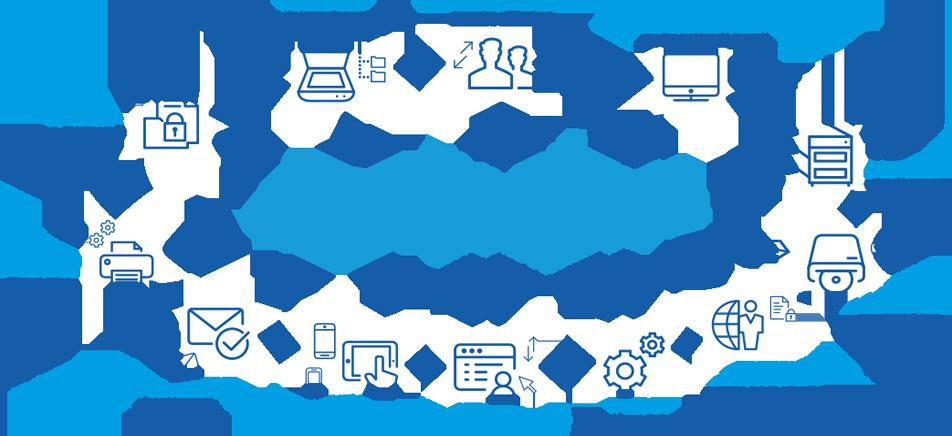 Logo MultiGest, l'efficacité documentaire. icone numérisation des documents papiers (OCR, code barre) ; icone synchronisation annuaire utilisateur ; icone recherche ; icone accessibilité depuis une tablette ou smartphone ; icone lien vers l'application métier ; icone workflow tableau de bord pilotage d'activité.