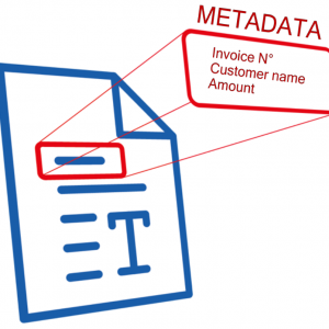 Metadata, invoice N°; customer name; amount.